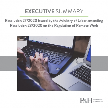 Resolution 27/2020 issued by the Ministry of Labor amending Resolution 23/2020 on the Regulation of Remote Work